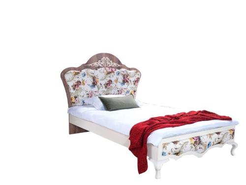 سرير كونتري مفرد 120*200 أبيض و زهري   COUNTRY BED DESIGN